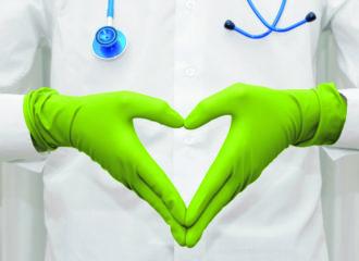 Händeherz grüne Handschuhe